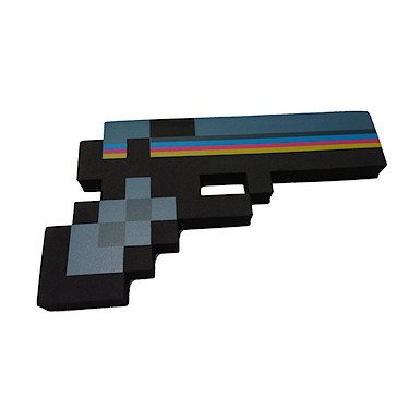 "8 Bit Pixelated Black Stone Foam Gun Toy 10"" - 1"