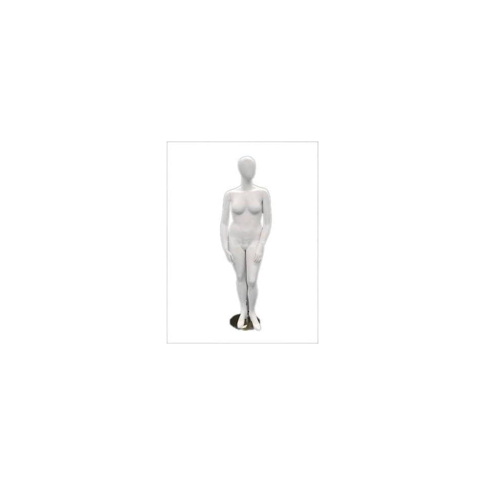 (MD NancyW2) Egg Head Female Mannequin Plus Size Matte White Fiber Glass
