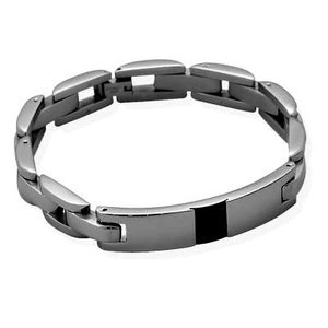 Mens 316L Stainless Steel ID Bracelet 10.5mm Wide with Black Checkered Carbon Fiber