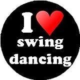 """I Love swing dancing 1.25"""" Pinback Button Badge / Pin (heart)"""