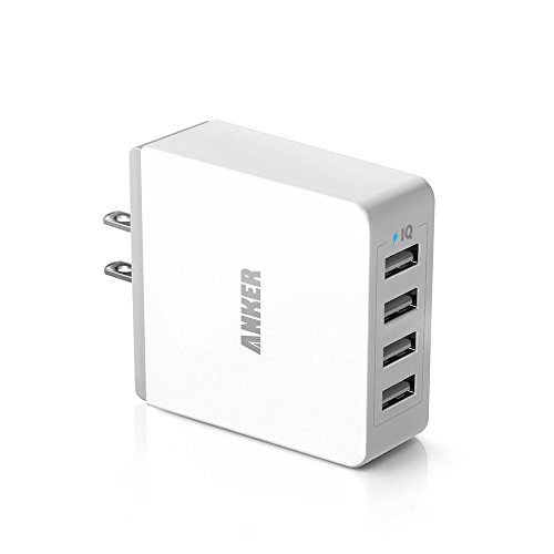 Cargador de Pared Anker 36W con 4 puertos USB y tecnología PowerIQ para iPhone, iPad, Samsung Galaxy, Nexus, HTC, Motorola, LG y más, color blanco