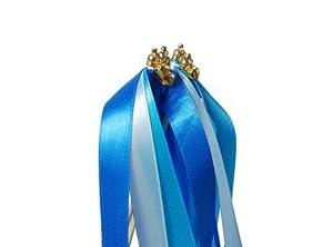 niceeshop(TM) Hochzeit Luftschlange Farbband Zauberstab mit Glocke,Himmel Blau