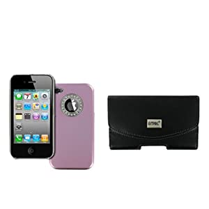 EMPIRE Apple iPhone 4 / 4S Black Leather Case Pouch with Belt Clip and Belt Loops + Stealth Design Snap-On Cover Case (Light Purple Cubic Zirconia) [EMPIRE Packaging]