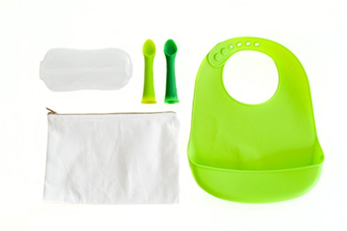 Baby waterproof silicone bib, infant teething spoons & travel case included in Coopers feeding kit. Best Baby Shower Gift / Idea for mom. 5 Piece feeding set for child from Unconventional Kitchen. (Children Spoon compare prices)