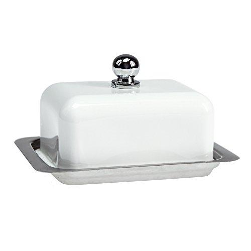 Contento 672176 Betty S Beurrier Acier Inoxydable Blanc 11,4 x 8,2 x 6,3 cm