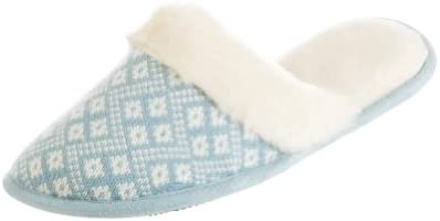 Isotoner Women39s Diamond Sweater Knit Fur Clog Slipper