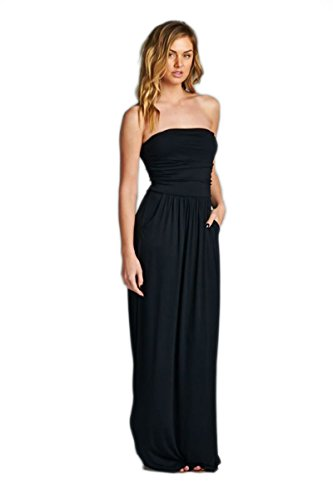 Strapless solid maxi dress