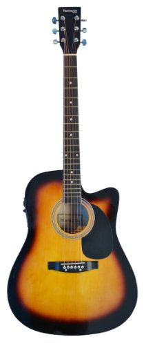 Full Size Sunburst Acoustic Electric Guitar Cutaway With 3 Eq, & Directlycheap(Tm) Translucent Blue Medium Guitar Pick
