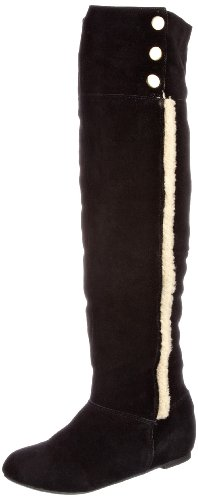 Chinese Laundry Women's Take Me There Black Suede Fur Trimmed Boots 5052125658708 4 UK