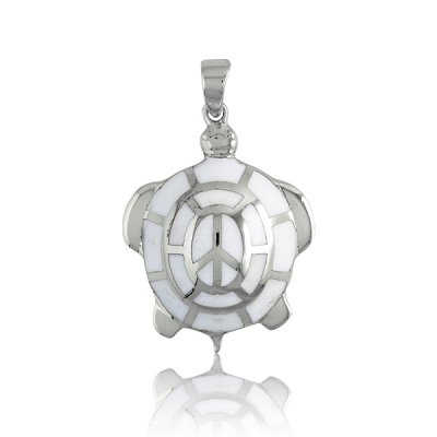 Animal Charm (925) Sterling Silver White Enamel Turtle Style Fashionable Fits All Ages(WoW !With Purchase Over $50 Receive A Marcrame Bracelet Free)
