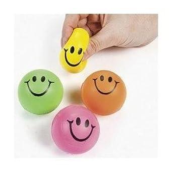 Mini Neon Smile Face Relaxable Balls (2 dz)