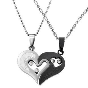Cubic Zirconia Stainless Steel Couples Black&Silver Tone