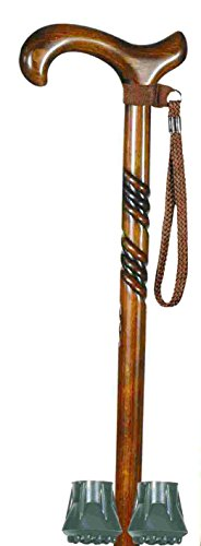 Ladies Beech Derby, Spiral Carving Walking Stick + Two Spare Ferrules and Wrist Loop (Top Quality Bundle) by Classic Canes