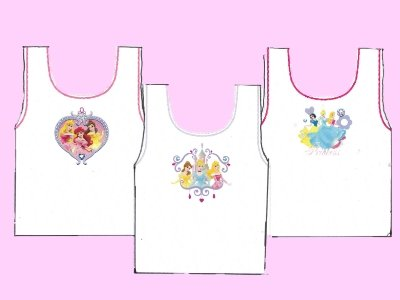 New Girls Official DISNEY PRINCESS Cartoon Character Cotton Vest Underwear 3 Vest Pack. Sizes To Fit Age 18-24 months / 2-3 / 3-4 / 4-5 Years