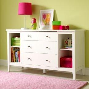 Cheap Kids Dressers: Kids Modern White Poplar Dresser With Shelves (B003FIFWXE)