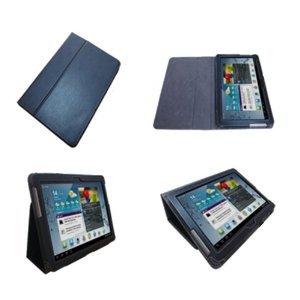 Navitech schwarze bycast Leder Case / Cover / Hülle mit einstellbarem Ständer fürr das Samsung Galaxy Tab 2 / Tab2 10.1 Zoll P5100 und P5110 Android 4.0 Gerät