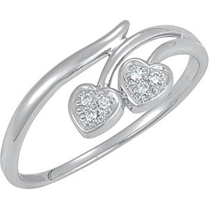 Genuine IceCarats Designer Jewelry Gift Sterling Silver .03 Ct Tw Diamond Heart Ring. .03 Ct Tw Diamond Heart Ring In Sterling Silver Size 8