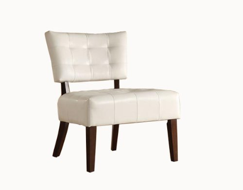 Homelegance Warner Faux Leather Accent Chair, White front-1073947