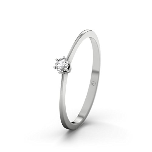 21DIAMONDS Women's Ring Curaçao White Topaz Brilliant Cut 9Ct White Gold Engagement Ring