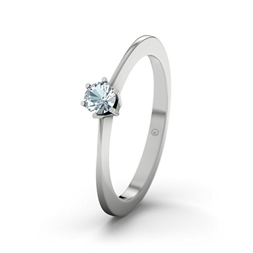 21DIAMONDS Women's Ring Wellington Aquamarine Brilliant Cut 9Ct White Gold Engagement Ring