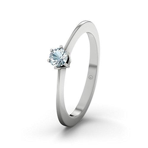 21DIAMONDS Women's Ring Wellington Aquamarine Brilliant Cut 9Ct White Gold Engagement Ring