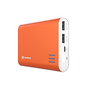 Jackery Giant+ Dual USB Portable Battery Charger & External Battery Pack for iPhone, iPad, Galaxy, and Android Smart Devices - 12,000 mAh (Orange)
