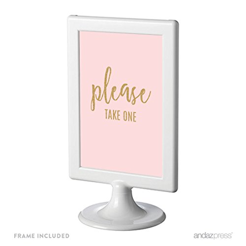 Andaz Press Blush Pink Gold Glitter Print Wedding Collection, Framed Party Signs, Please Take One, 4x6-inch, 1-Pack, Includes Frame, Programs, Hand Fans Table Signage