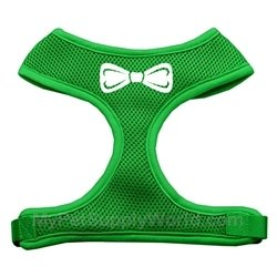 Dog Supplies Bow Tie Screen Print Soft Mesh Harness Emerald Green Large