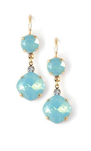 Clara Beau Fabulous large round and Square swarovski crystal drop earrings ES60 - Gold Pacific Opal