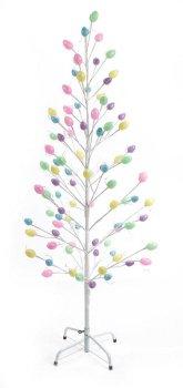 Pack Of 2 Pre-Lit White Spring Easter Egg Twig Tree Decoration - Cool White Led Lights 5'