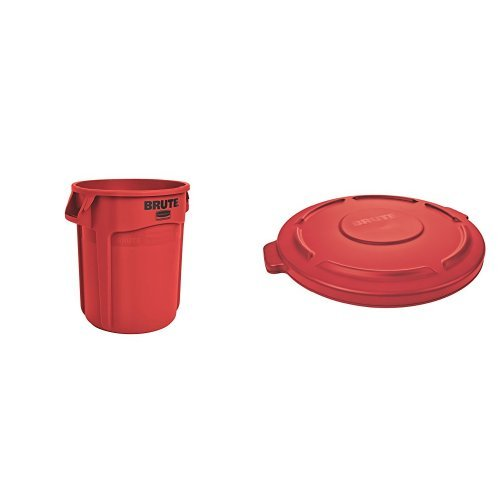 Rubbermaid Commercial BRUTE Trash Can, Vented, 20 Gallon, Red with Lid (FG262000RED & FG261960RED) (Recycle Can With Lid compare prices)