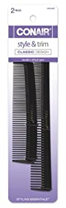Conair Pocket and Barber Comb, Hard Rubber