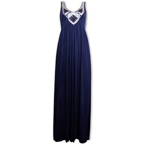 New V-Neck Sequined Empire Waist Pleated Stretchy Long Maxi Dress Sundress