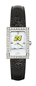 LogoArt Jeff Gordon Ladies Allure Black Leather Watch - Jeff Gordon Each by Nascar Officially Licensed