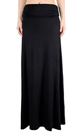 LQ Women's High Waisted Fold Over Maxi Skirt (Black, Small)