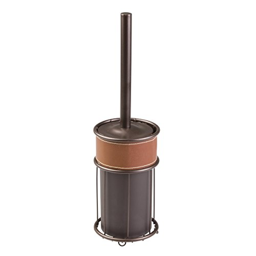 mDesign Hideaway Bathroom Toilet Bowl Brush and Holder - Brown/Bronze