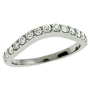 14k White Curved Design 0.48 Ct Diamond Band Ring - Size 7.0 - JewelryWeb