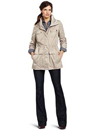 Calvin Klein Women's Packable Anorak Raincoat, Bisque, Medium