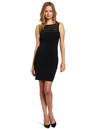 London Times Women's Matte Jersey Mesh Shutter Tuck Dress, Black, 14