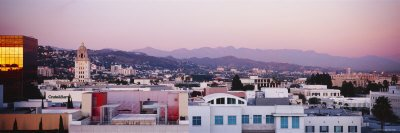 Cityscape of San Gabriel Mountains, Hollywood Hills, Hollywood