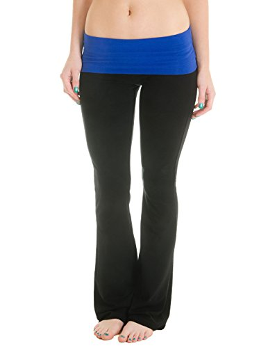 Cotton Cantina Juniors Fold Over Cotton Spandex Pants (Medium, Black/Royal)