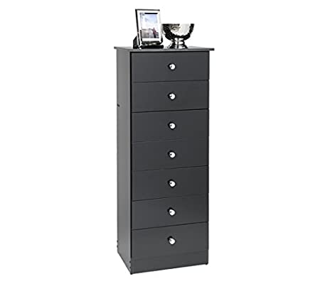 Traditional Tall Black Dresser with Seven Drawers, This Narrow Wood 7 Drawer Lingerie Chest Provides Plenty of Storage Space with Its Horizontal Design! Tall Skinny Dresser Fits Most Places!