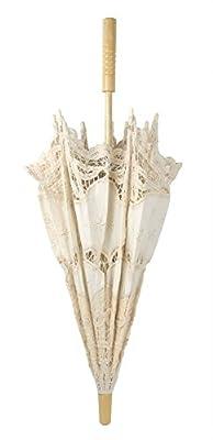 niceEshop(TM) Handgefertigt Stickerei Spitze Schirm für Braut Hochzeit Dekoration,Beige von niceEshop - Gartenmöbel von Du und Dein Garten