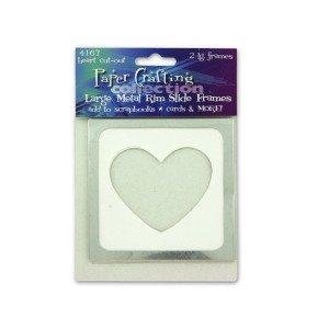 2 lg metal rim heart cut-out slide frames - Pack of 24