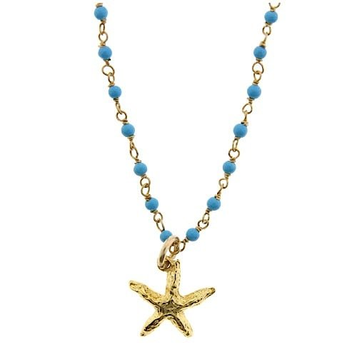 Tiny Starfish & Turquoise Charm Necklace