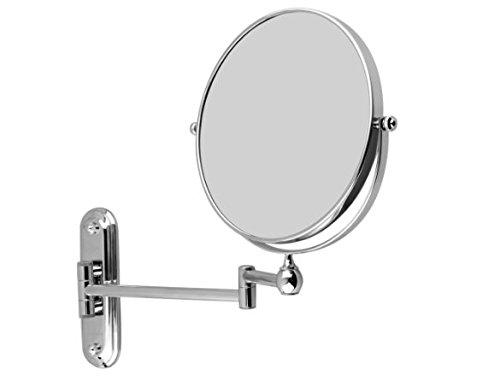 【hinatano shop】アームミラー 拡大鏡 伸縮ミラー 両面鏡 5倍 360度回転可能 折りたたみ式 円形 洗面台に壁付け シェービング メイクに便利 メーカー名: hinatano shop