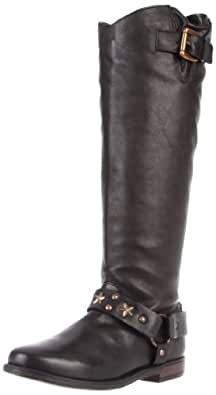 Betsey Johnson Women's LEIGH Boot,Black leather,5.5 M US