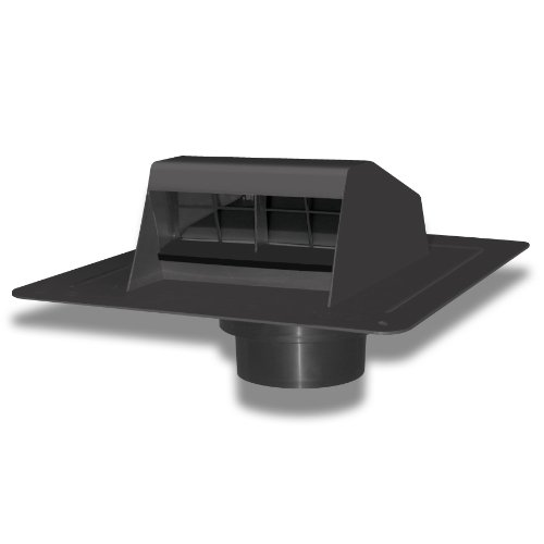 Duraflo 6013BL Roof Dryer Vent Flap with ATT Collar, Black