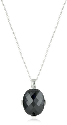 Giorgio Martello Sterling Silver Rhodium Plated Faceted Black Cubic Zirconium Necklace