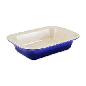 Click to buy Cool Kitchen Gadget:  Le Creuset Stoneware 8-1/2-by-10-3/4-Inch Deep Dish Baker, Cobalt from Amazon!